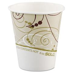 Paper Hot Cups in Symphony Design, Polylined, 6oz, Beige/White, 1000/Carton