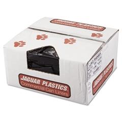 Jaguar Plastics Repro Low-Density Can Liners, 1.5 Mil, 40 x 46, Black, 10 Bags/Roll, 10 Rolls/CT