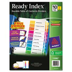 Ready Index Customizable Table of Contents, Asst Dividers, 10-Tab, Ltr, 3 Sets
