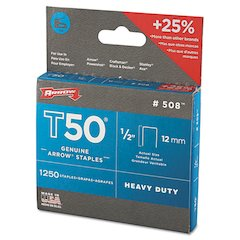"T50 Heavy Duty Staples, 1/2"" Leg, 1250/Pack"