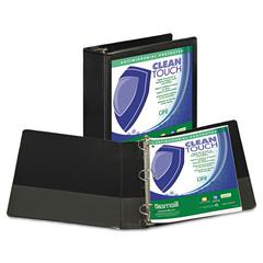 "Clean Touch Locking Round Ring View Binder, Antimicrobial, 3"" Cap, Black"