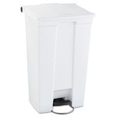 Rubbermaid Commercial Indoor Utility Step-On Waste Container, Rectangular, Plastic, 23gal, White