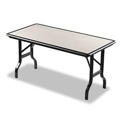 IndestrucTables Resin Rectangular Folding Table, 60w x 30d x 29h, Granite/Black