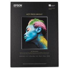 Epson Hot Press Bright Fine Art Paper, 13 x 19, Bright White, 25 Sheets
