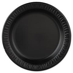 "Dart Quiet Classic Laminated Foam Dinnerware, Plate, 9"" dia, Black, 125/Pk, 4 Pks/Ctn"