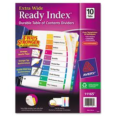 Ready Index Customizable Table of Contents, Asst Dividers, 10-Tab, 11 x 9 1/2