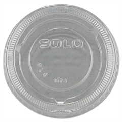 SOLO Cup Company No-Slot Plastic Cup Lids, 3.25-9oz Cups, Clear, 125/Sleeve, 20 Sleeves/Carton