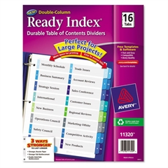 Ready Index Customizable Table of Contents Double Column Dividers, 16-Tab, Ltr