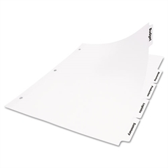 Index Dividers w/White Labels, 5-Tab, Letter, 25 Sets