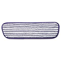 Rubbermaid Commercial Microfiber Finish Pad, 18 x 5 1/2, Blue/White, 6/Carton