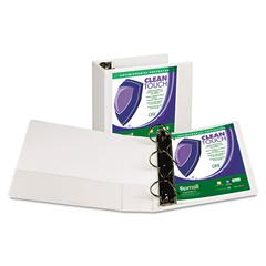 """Clean Touch Locking D-Ring View Binder, Antimicrobial, 5"""" Cap, White"""