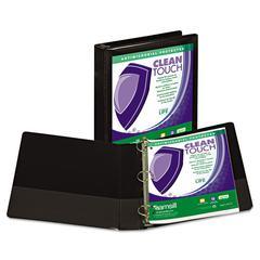 "Clean Touch Locking Round Ring View Binder, Antimicrobial, 1 1/2"" Cap, Black"
