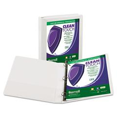 "Samsill Clean Touch Locking D-Ring View Binder, Antimicrobial, 1"" Cap, White"