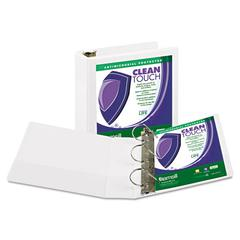 "Clean Touch Locking D-Ring View Binder, Antimicrobial, 3"" Cap, White"