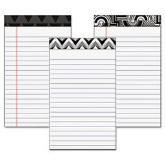 Fashion Legal Pads with Assorted Headtapes, 5 x 8, 50 Sheets, 6 Pads/Pack