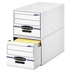 STOR/DRAWER File Drawer Storage Box, Letter, White/Blue, 6/Carton
