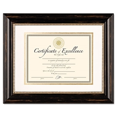 DAX Genova Document Frame with Mat, 11 x 14, 8 1/2 x 11, Plastic, Black