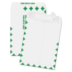 Quality Park Redi Strip Catalog Envelope, 9 x 12, First Class Border, White, 100/Box