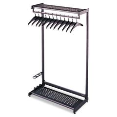 "Quartet Single-Side, Garment Rack w/Two Shelves, Eight Hangers, Steel, 24"" Wide, Black"