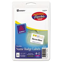 Avery Flexible Self-Adhesive Laser/Inkjet Badge Labels, 2 11/32 x 3 3/8, WE, 40/PK