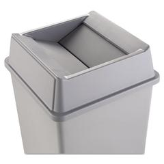 Rubbermaid Commercial Untouchable Square Swing Top Lid, Plastic, 20 1/8 x 20 1/8 x 6 1/4, Gray