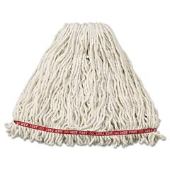 Web Foot Wet Mop Head, Shrinkless, Cotton/Synthetic, White, Large, 6/Carton