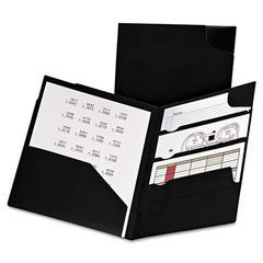 Divide It Up Four-Pocket Poly Folder, 11 x 8-1/2, Black