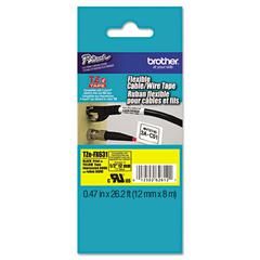 "Brother P-Touch TZe Flexible Tape Cartridge for P-Touch Labelers 1/2"" x 26-1/5ft Black on Yellow"