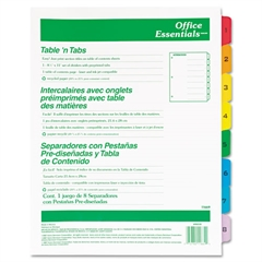 Office Essentials Table 'n Tabs Dividers, 8-Tab, Letter