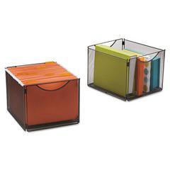 Safco Onyx Mesh Cube Bins, 12 1/2w x 14d x 10h, Black, 2/Pack