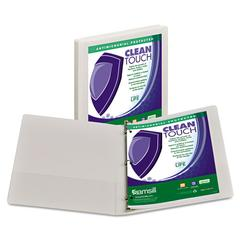"Samsill Clean Touch Locking Round Ring View Binder, Antimicrobial, 1/2"" Cap, White"