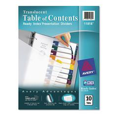 Avery Ready Index Customizable Table of Contents Plastic Dividers, 10-Tab, Letter