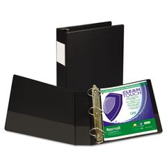 "Clean Touch Locking D-Ring Reference Binder, Antimicrobial, 2"" Cap, Black"