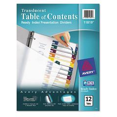 Ready Index Customizable Table of Contents Plastic Dividers, 12-Tab, Letter