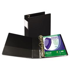 "Samsill Clean Touch Locking D-Ring Reference Binder, Antimicrobial, 3"" Cap, Black"