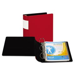 "DXL Heavy-Duty Locking D-Ring Binder With Label Holder, 4"" Cap, Red"