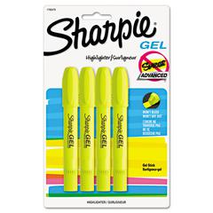 Gel Highlighter, Bullet Tip,Yellow, 4/Pack