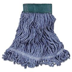 Rubbermaid Commercial Super Stitch Blend Mop Head, Medium, Cotton/Synthetic, Blue, 6/Carton