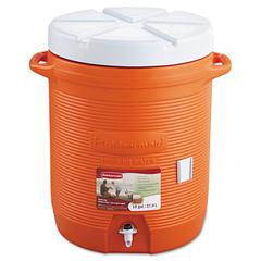 """Rubbermaid Commercial Insulated Beverage Container, 16"""" dia. x 20 1/2h, Orange"""
