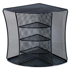 Universal Mesh Desktop Corner Organizer, Six Compartments, Black