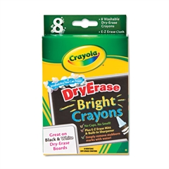 Crayola Washable Dry Erase Crayons w/E-Z Erase Cloth, Assorted Bright Colors, 8/Pack