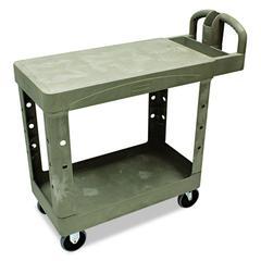 Rubbermaid Commercial Flat Shelf Utility Cart, Two-Shelf, 19-1/5w x 37-7/8d x 33-1/3h, Beige