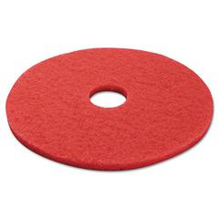 "Standard Buffing Floor Pads, 17"" Diameter, Red, 5/Carton"
