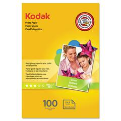 Kodak Photo Paper, 6.5 mil, Glossy, 4 x 6, 100 Sheets/Pack