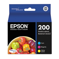 Epson T200520 (200) DURABrite Ultra Ink, Cyan/Magenta/Yellow, 3/Pack
