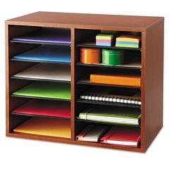 Safco Fiberboard Literature Sorter, 12 Sections, 19 5/8 x 11 7/8 x 16 1/8, Cherry