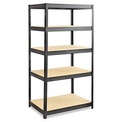Safco Boltless Steel/Particleboard Shelving, Five-Shelf, 36w x 24d x 72h, Black