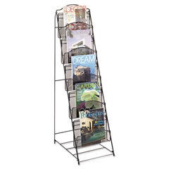 Onyx Magazine Floor Rack, 12-1/2w x 18-1/2d x 46h, Black