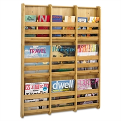 Safco Bamboo Magazine/Pamphlet Wall Display, 29w x 1-3/4d x 37-3/4h, Natural