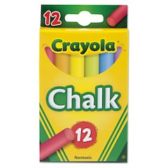 Chalk, 6 Assorted Colors, 12 Sticks/Box